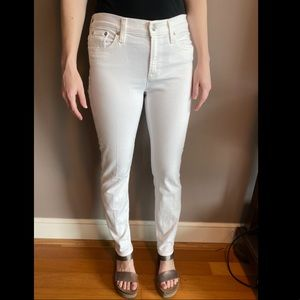 White Jcrew Toothpick (Straight) Jeans